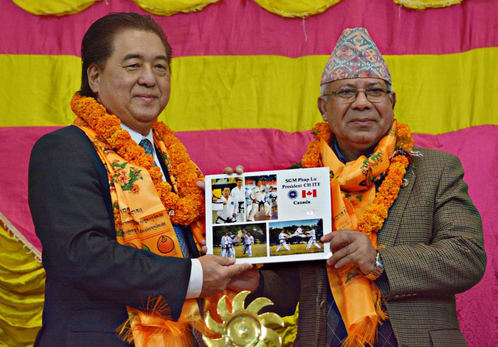 with Former Prime Minister of Nepal Mada Kumar Nepal , Dec. 02 2014